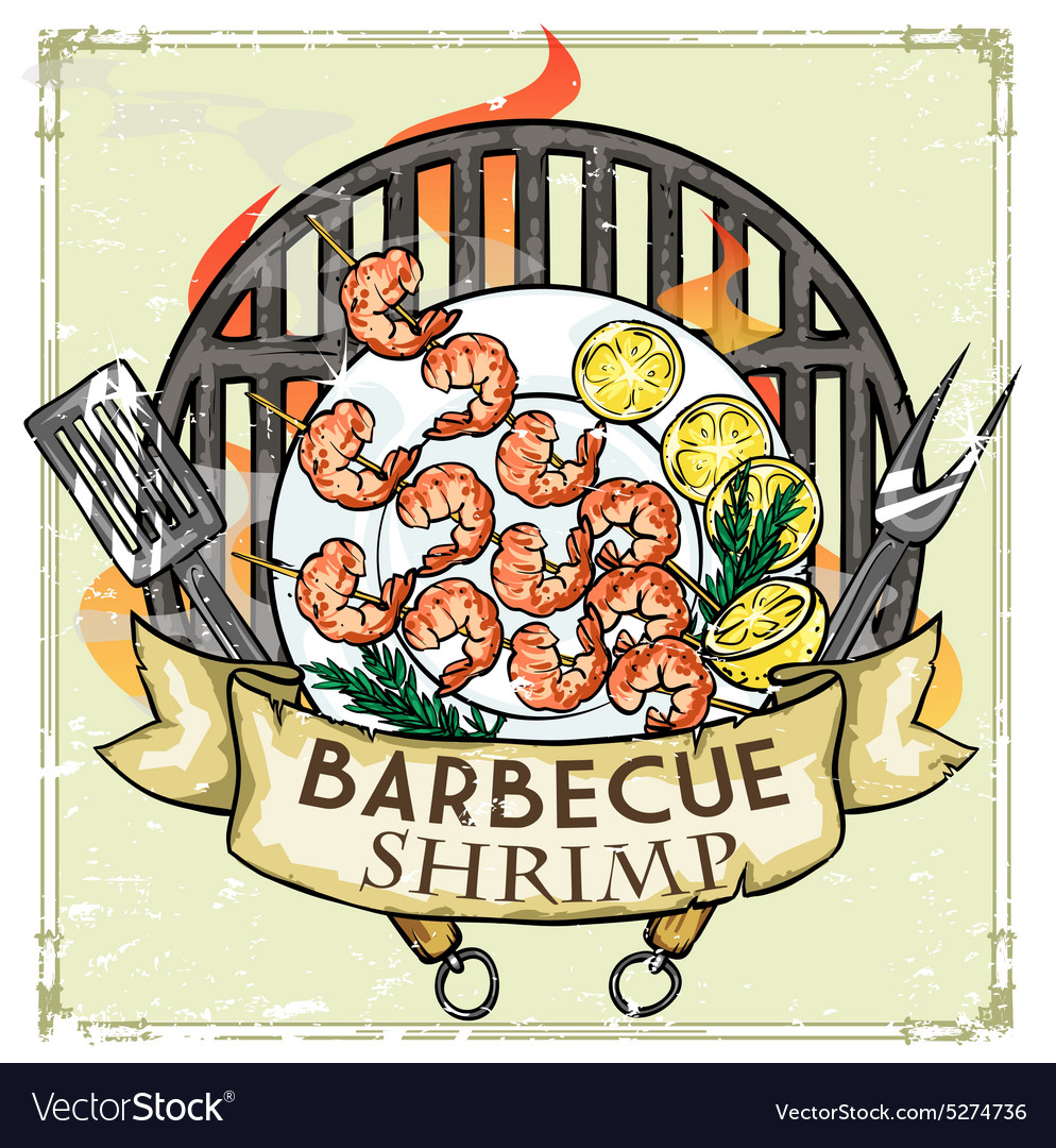 BBQ Grill label design - Shrimp