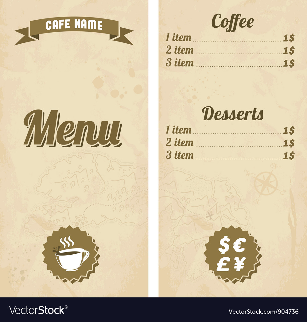 cafe menu design with treasure map royalty free vector image