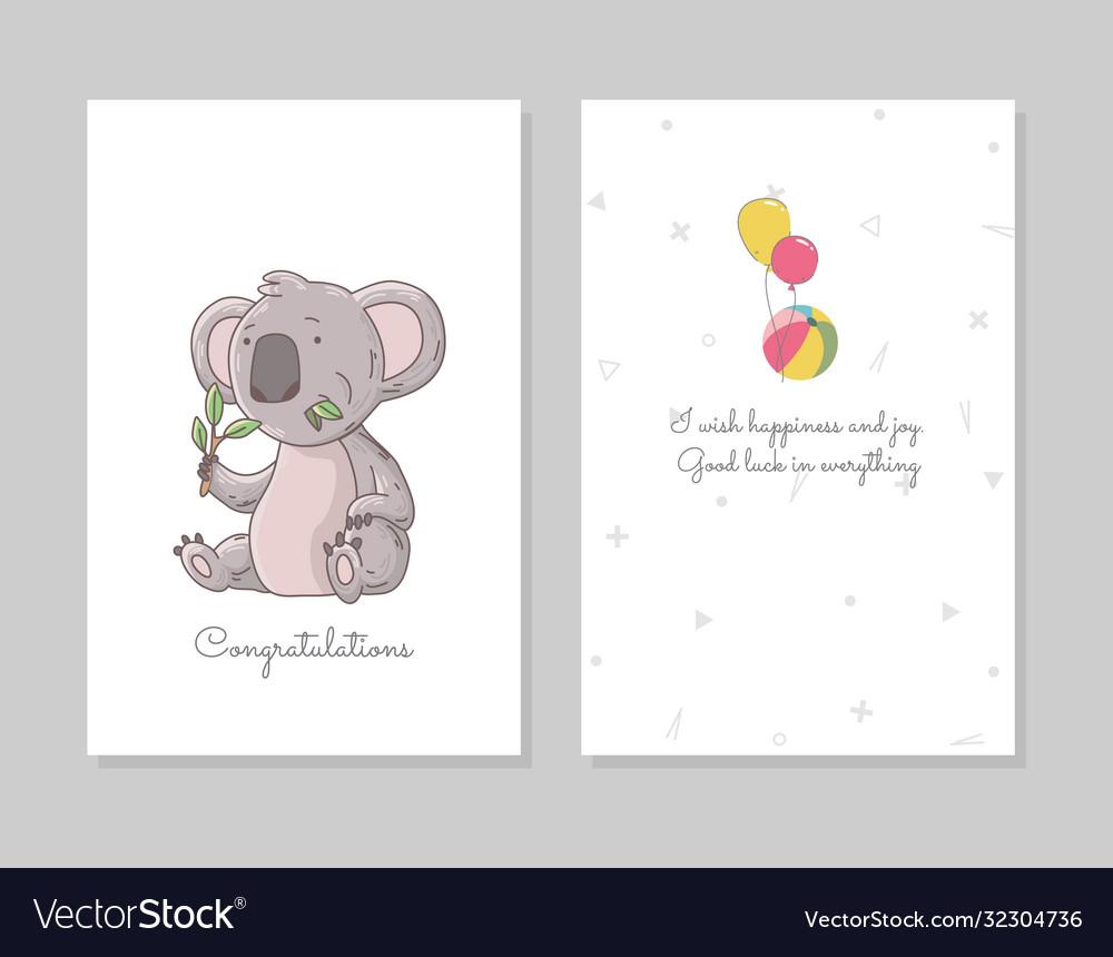 Cute koala eating eucalyptus hand drawn doodle