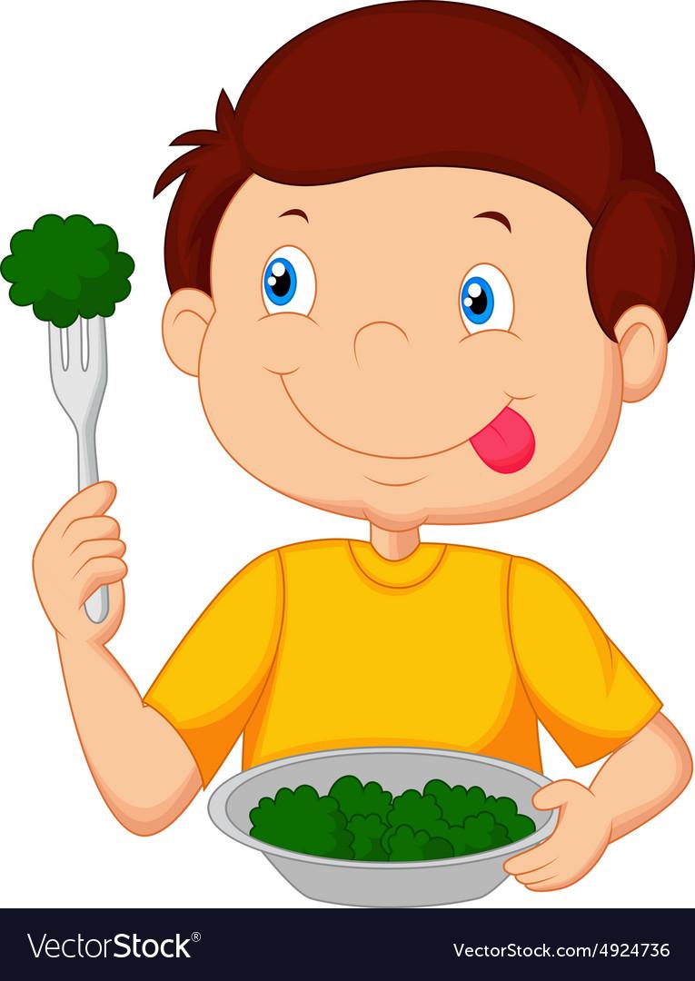 Cute little boy eats vegetable using fork Vector Image