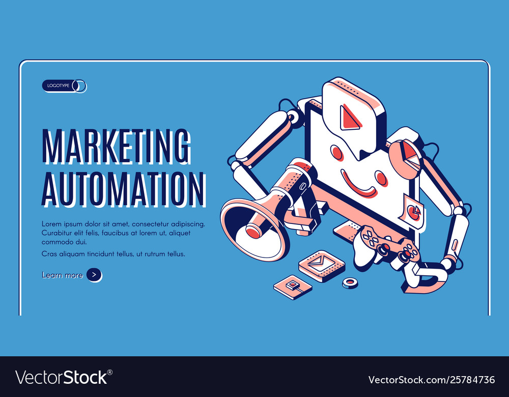 Digital marketing automation isometric web banner
