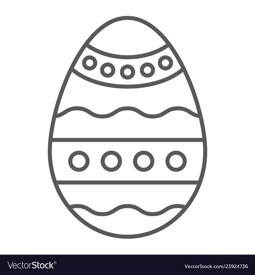 Easter egg thin line icon decoration and easter