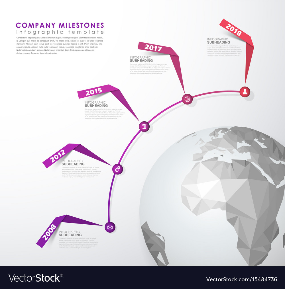 Infographic startup milestones time line template vector image maxwellsz