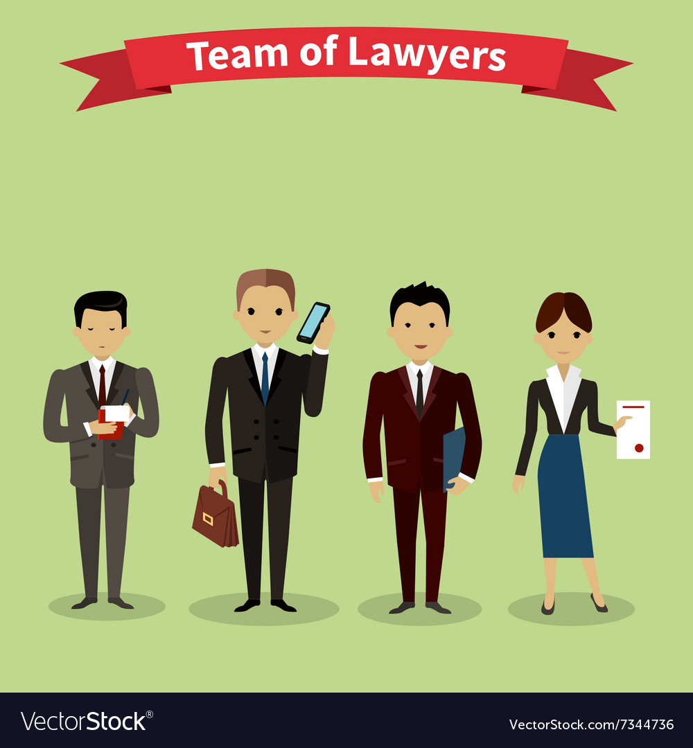 Lawyers Team People Group Flat Style
