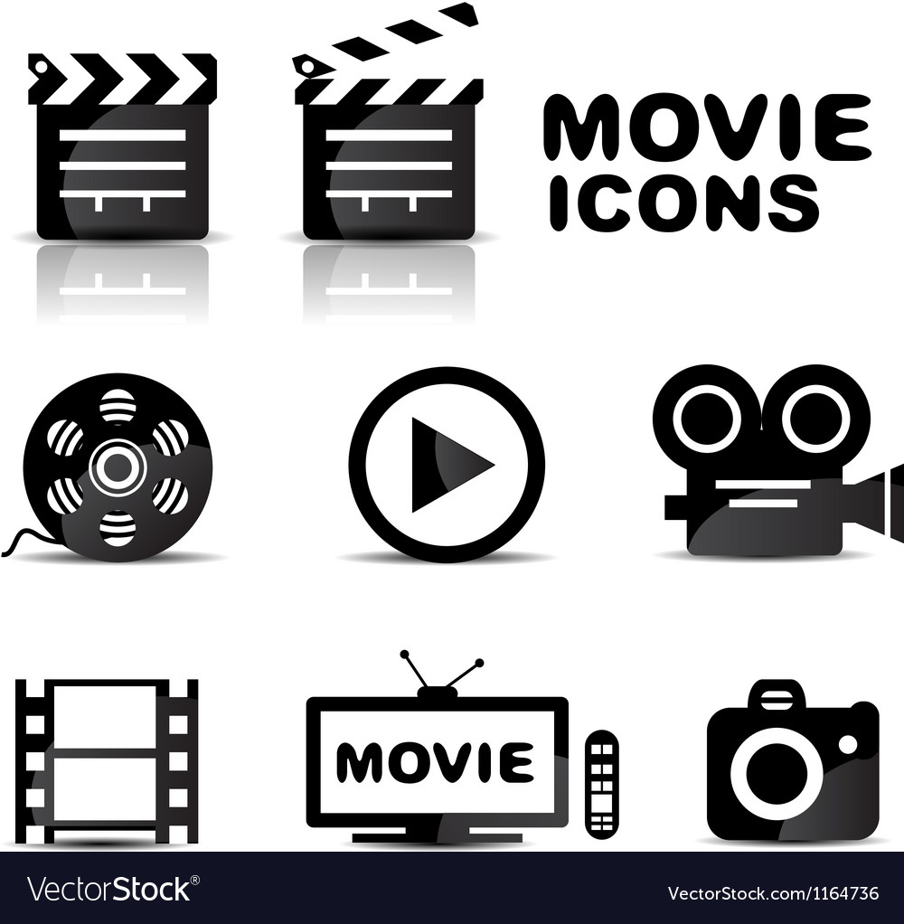 Movie black glossy icon set