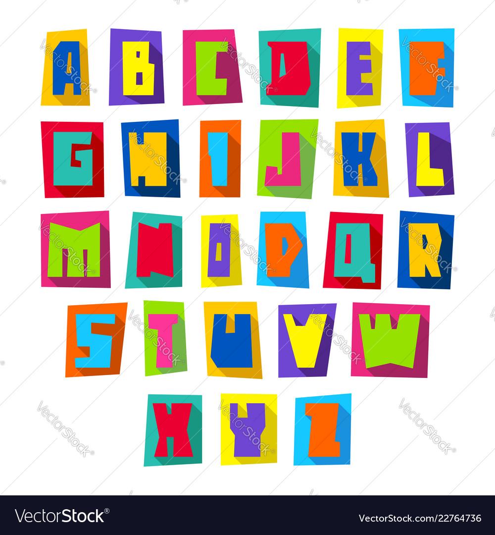 New font cut colorful letters upper case