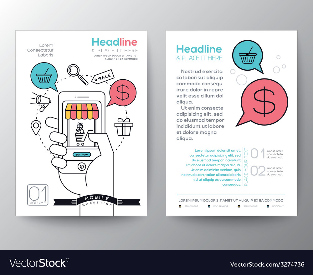 online shopping brochure flyer layout template vector image