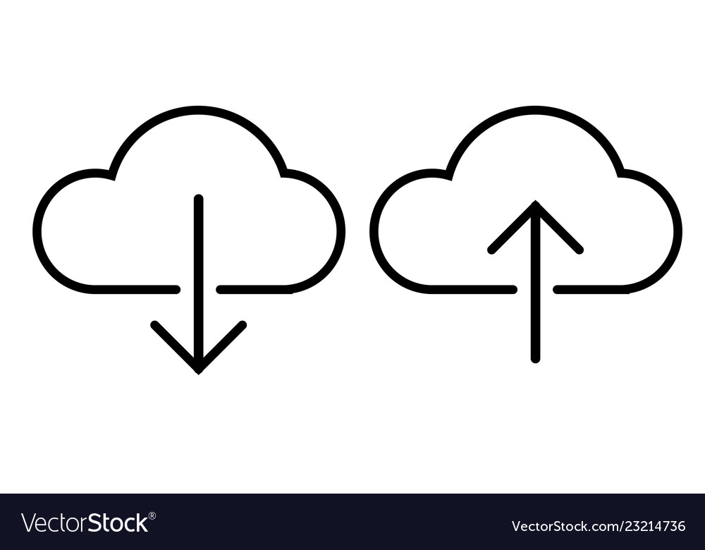 Outline cloud dowload and upload icon on white