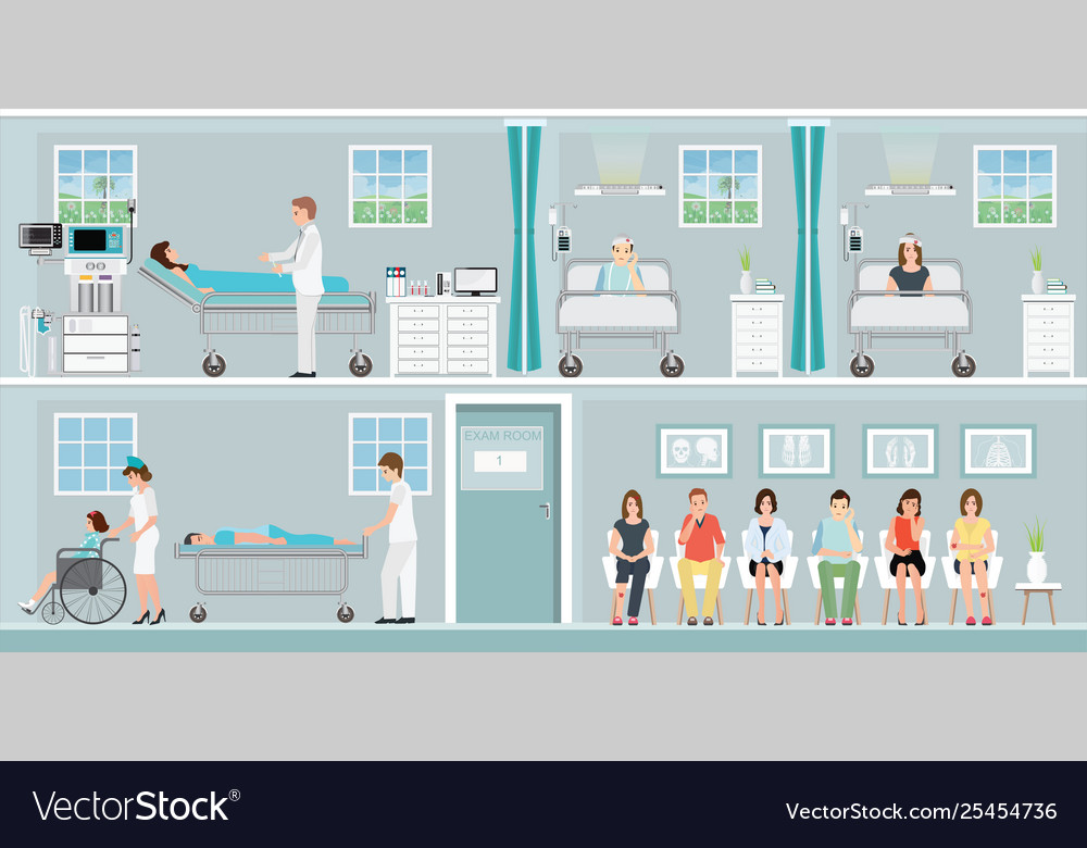 Patients and doctor in hospital