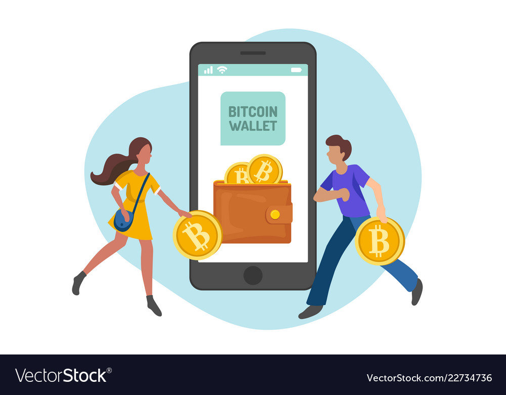 People carrying bitcoins in wallet flat