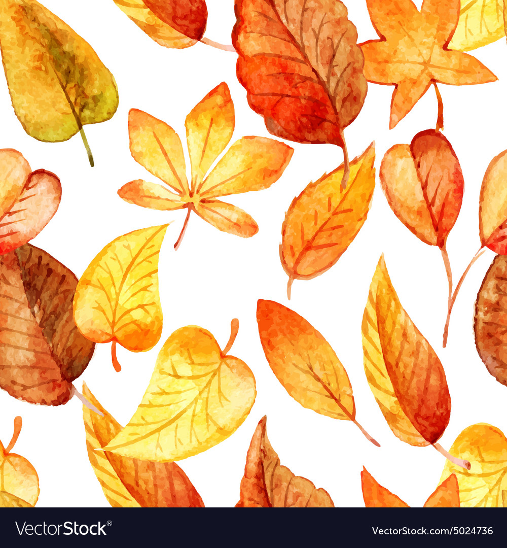 Seamless Pattern Of Autumn Leaves Watercolor