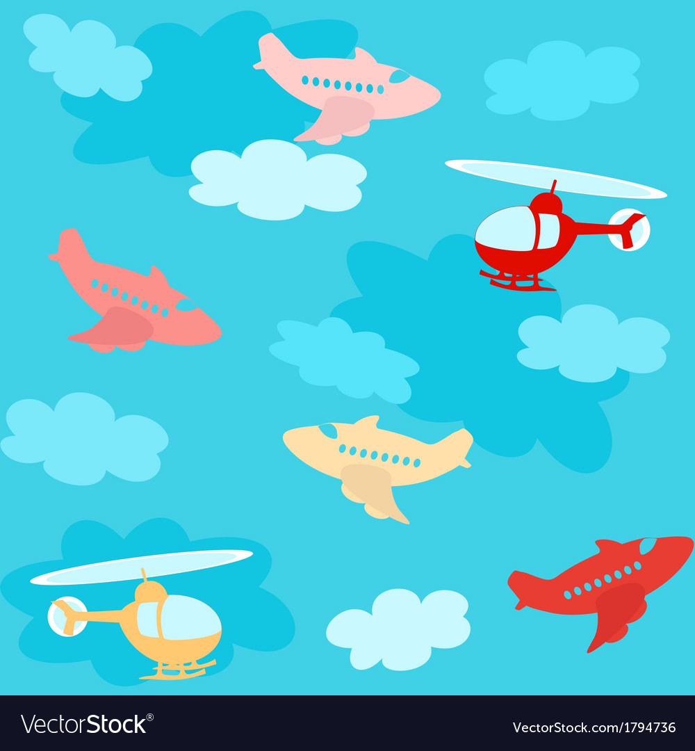 Seamless pattern with airplanes and clouds