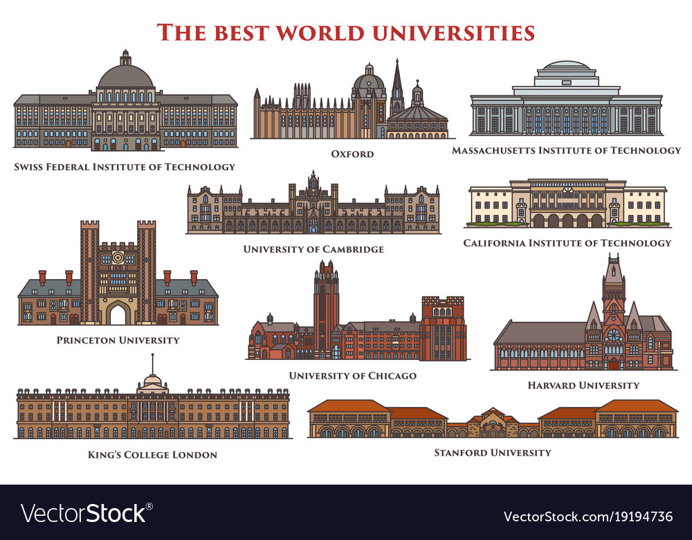 Set of isolated education buildings university vector image