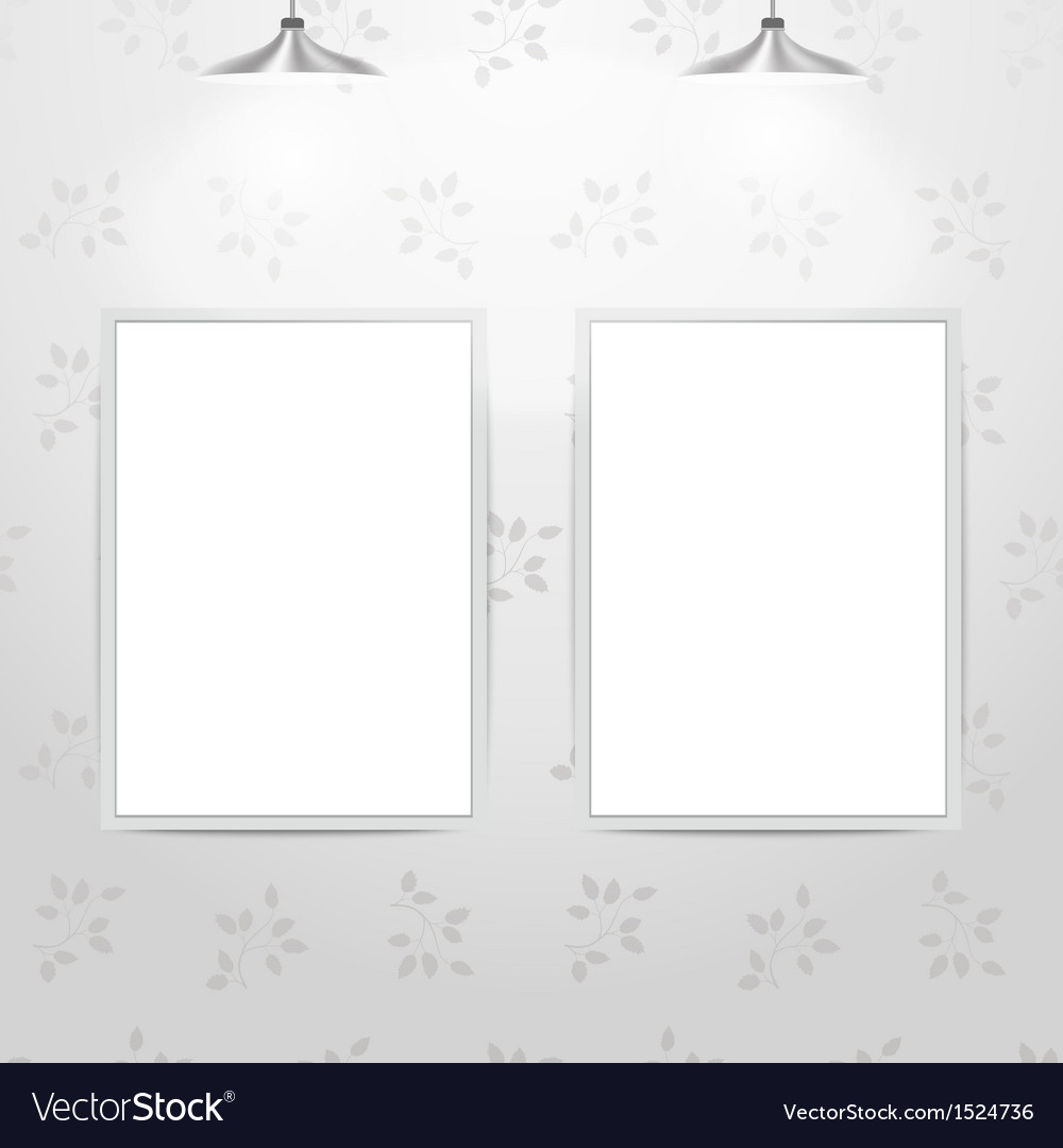 White empty frames hanging on the wall Royalty Free Vector
