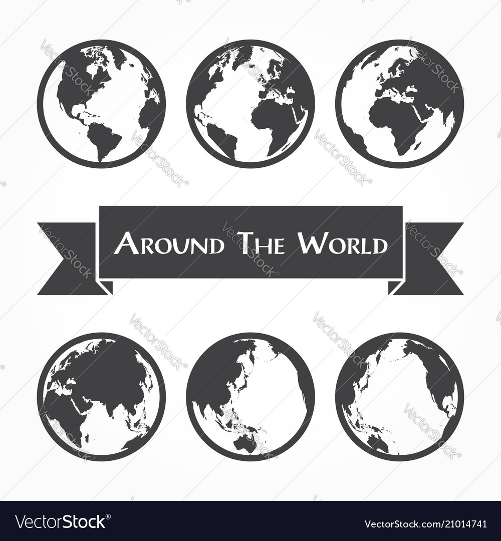 Around the world outline of world map