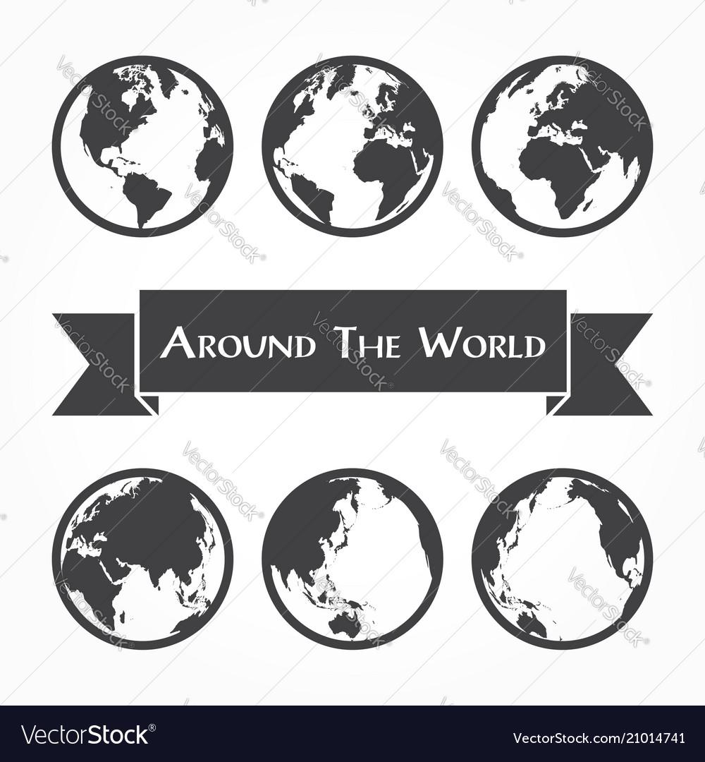 Around world outline world map