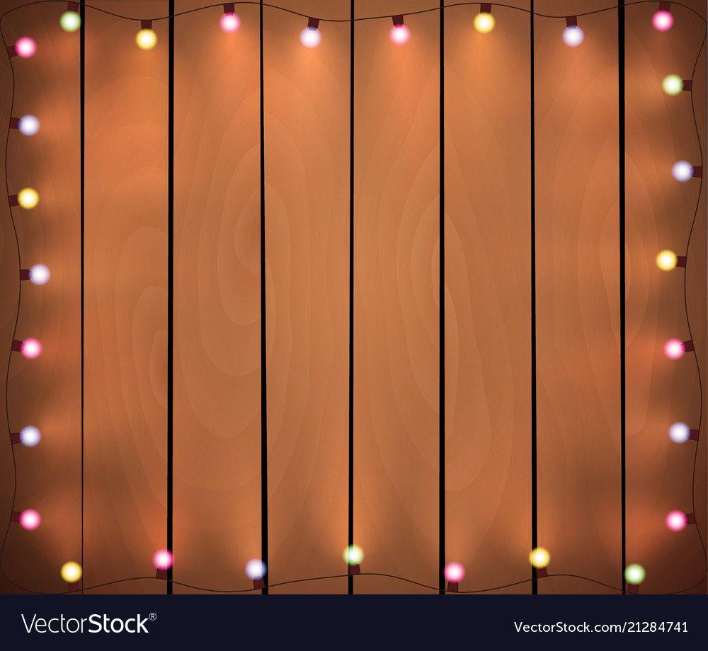 Christmas Lights.Christmas Lights On Wooden Background