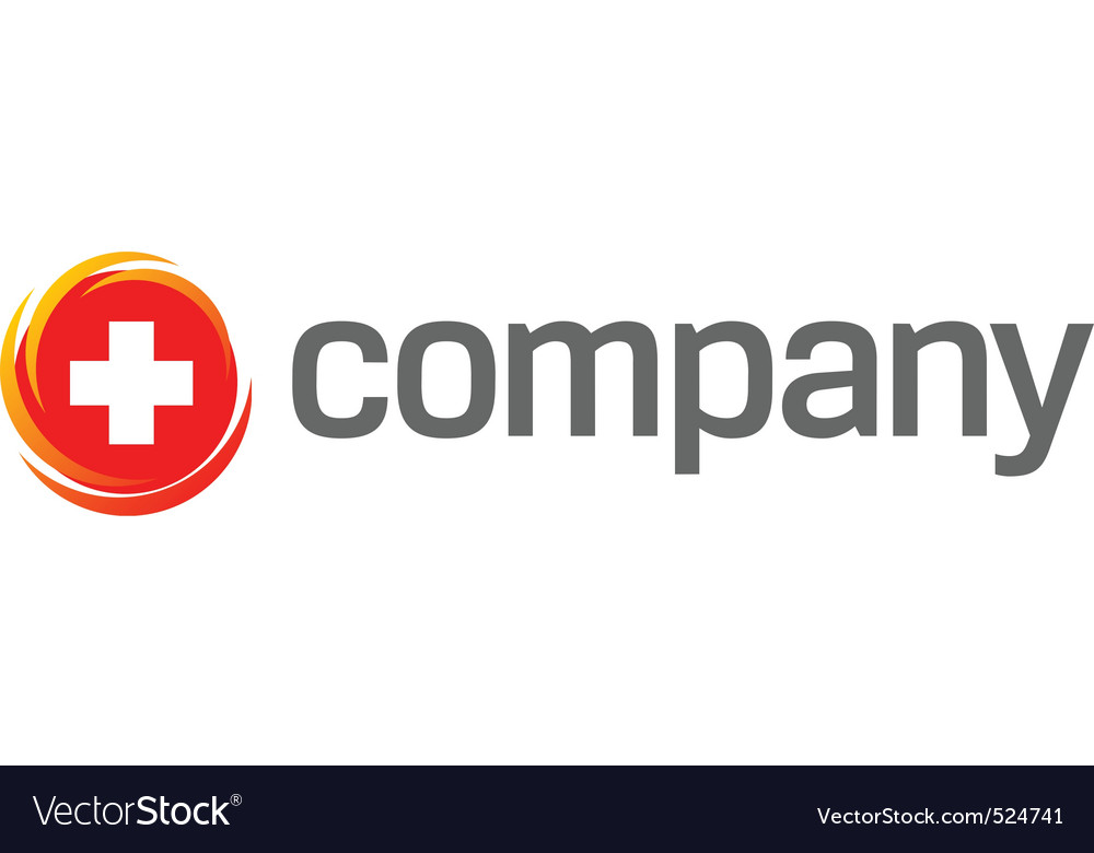 Cross on red background logo vector image
