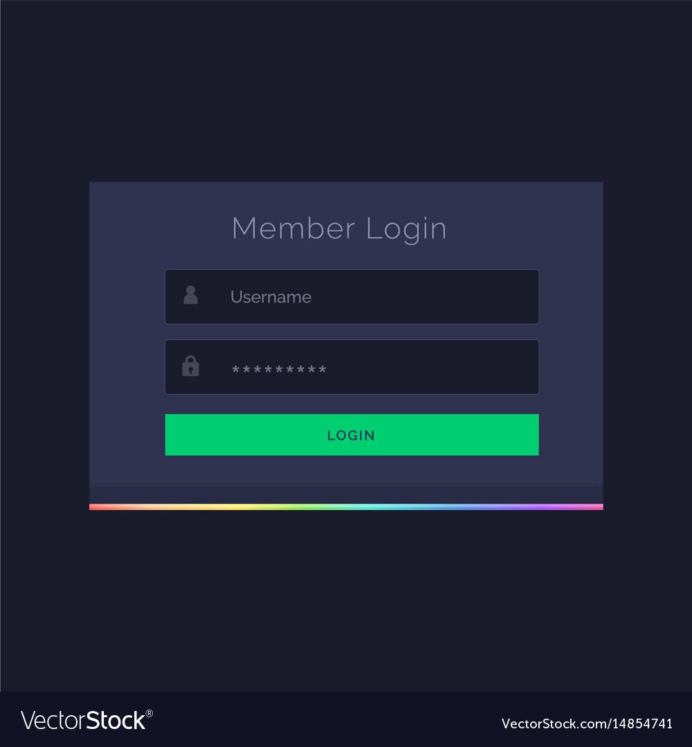 Dark member login form design template