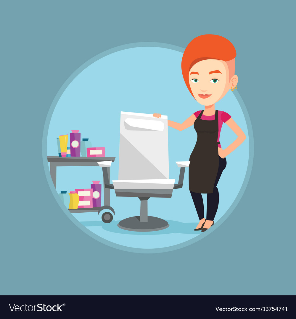 Hairdresser at workplace in barber shop vector image