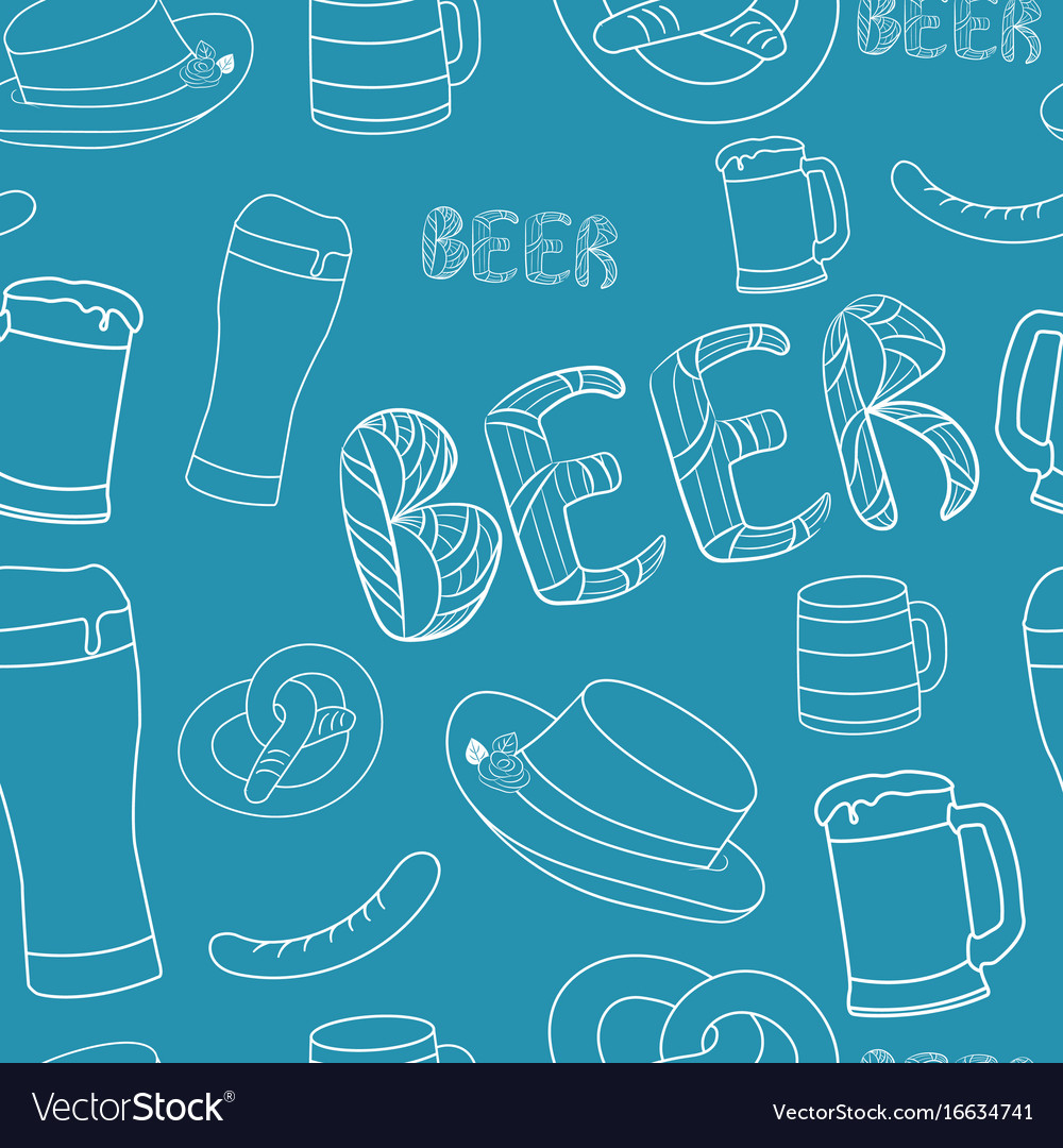 Hand drawn beer seamless pattern decorative