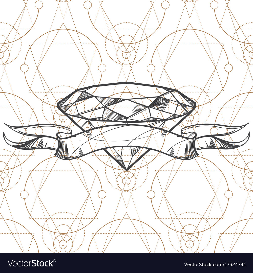 Hand Drawn Diamond And Ribbon Outline For Tattoos Vector Image