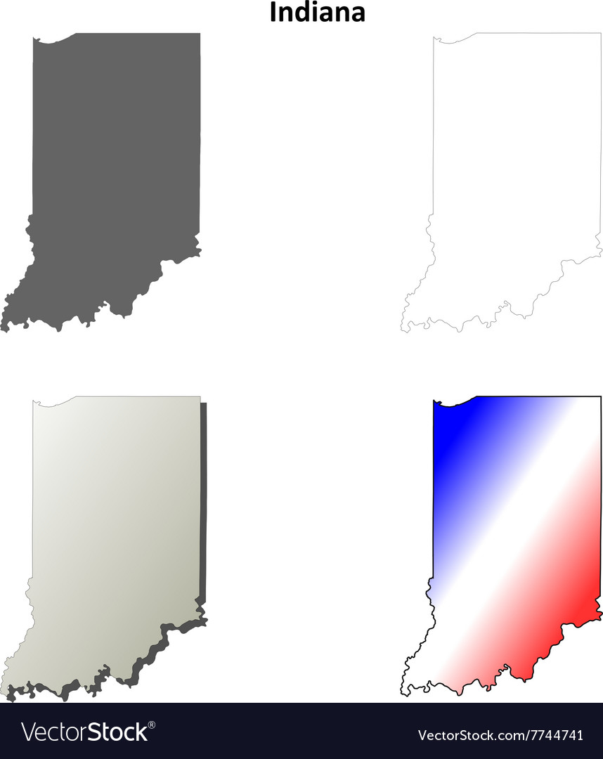 Indiana outline map set
