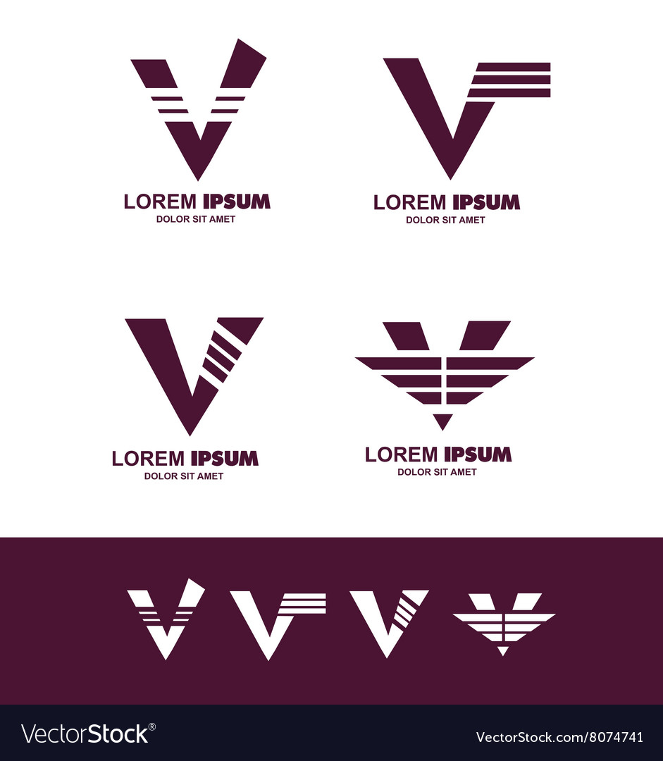 Letter V alphabet logo icon vector image