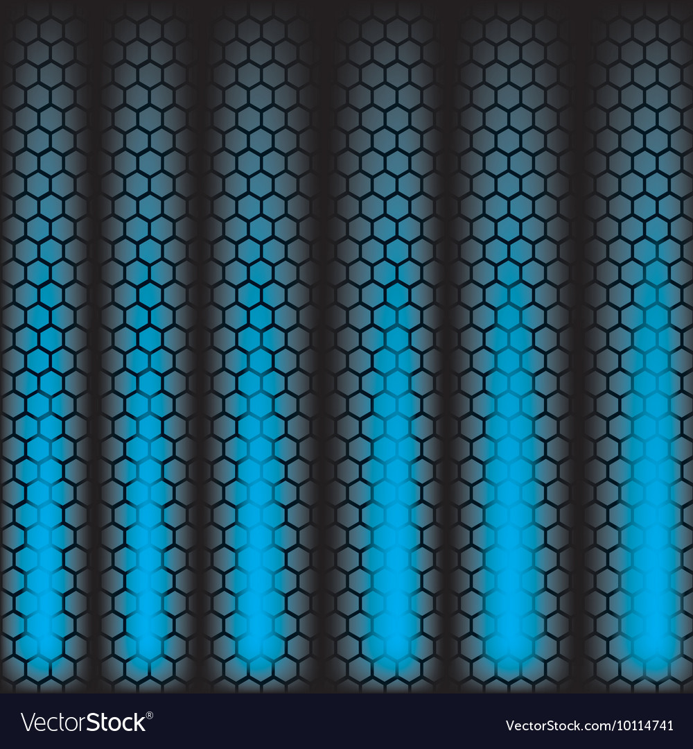 Metal Shine Hexagon Grid on blue Background vector image