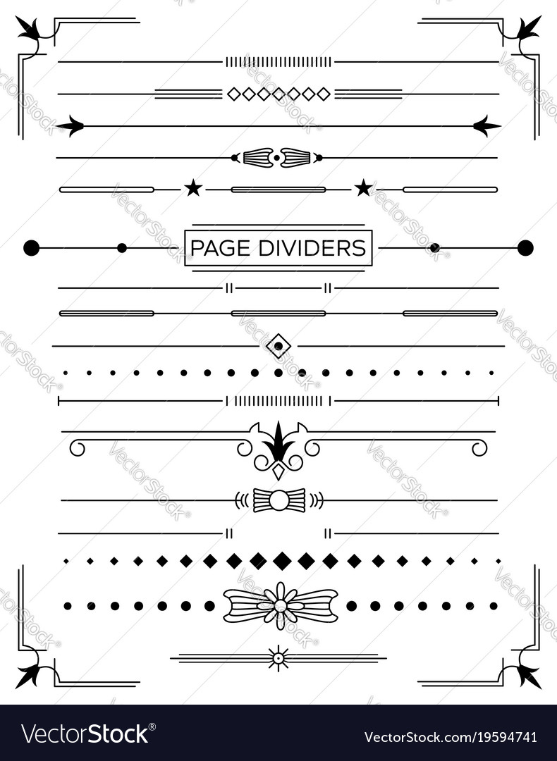Set of retro decorative page dividers and design