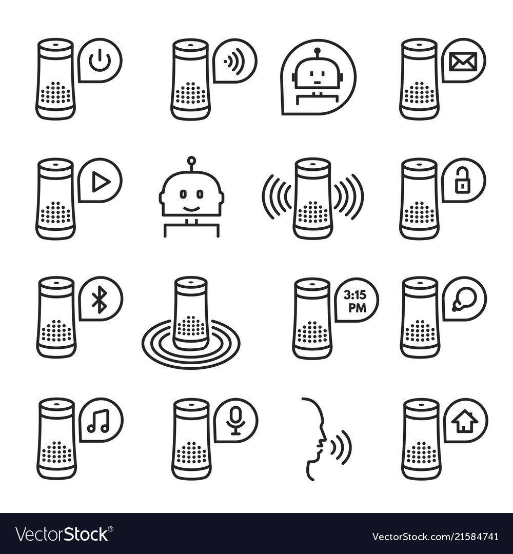 Smart speaker icon set isolated from