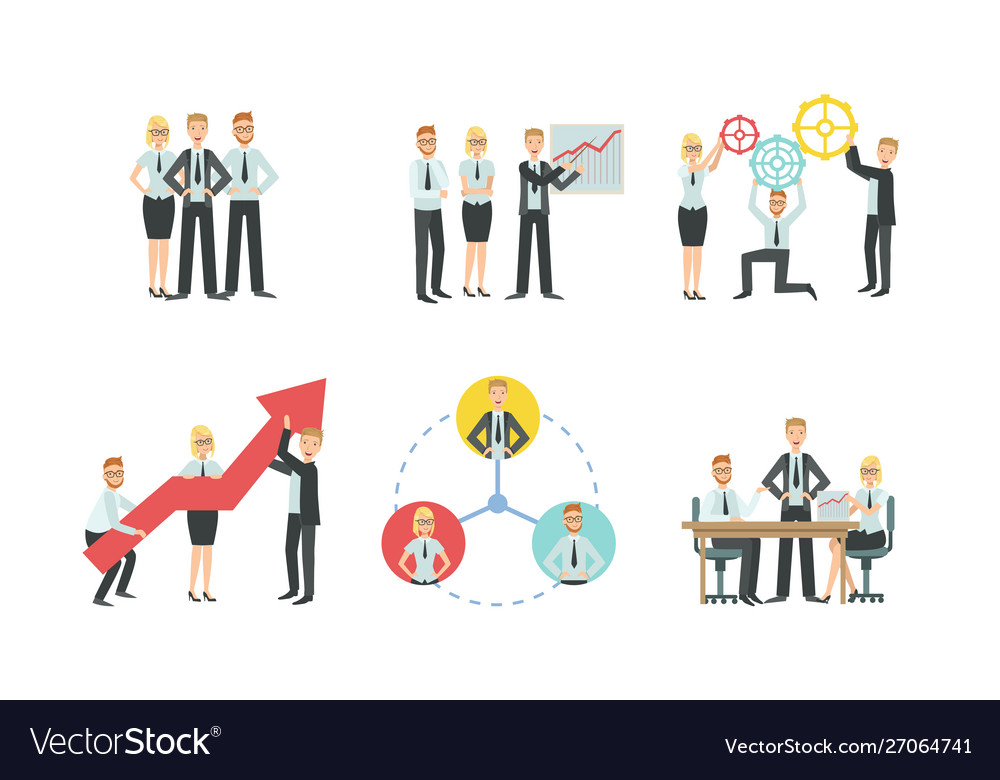 Sucessful business people characters working in