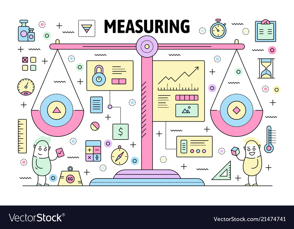 Thin line measuring poster banner template