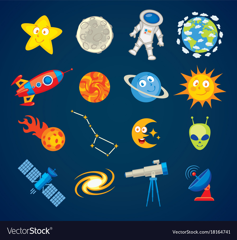 Trendy astronomy icons funny cartoon character