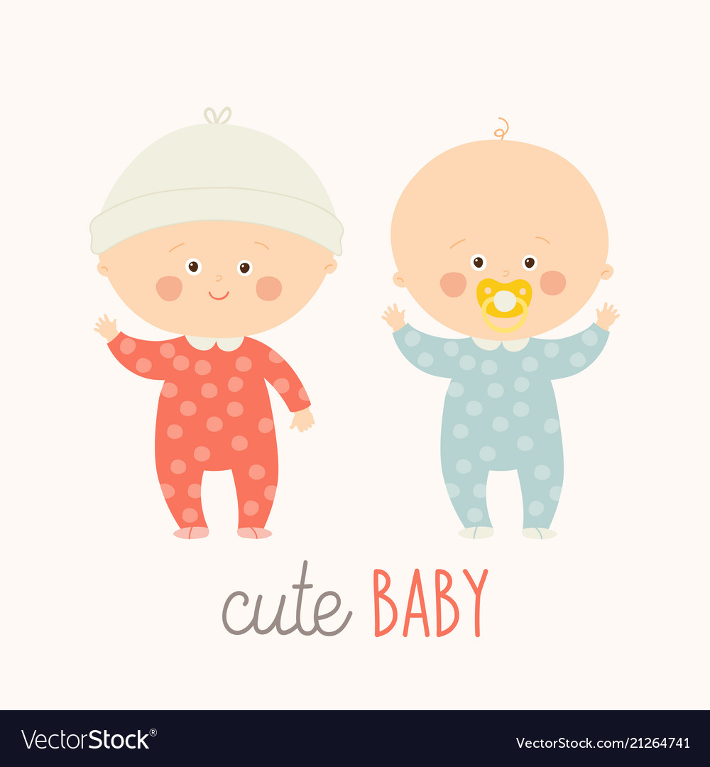 Two cute babies standing with baby pacifier vector image