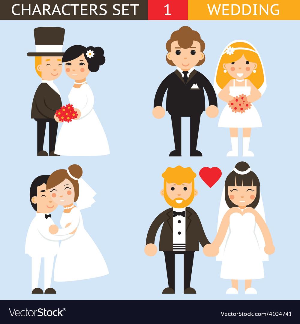 Wedding characters set flat desingn icons