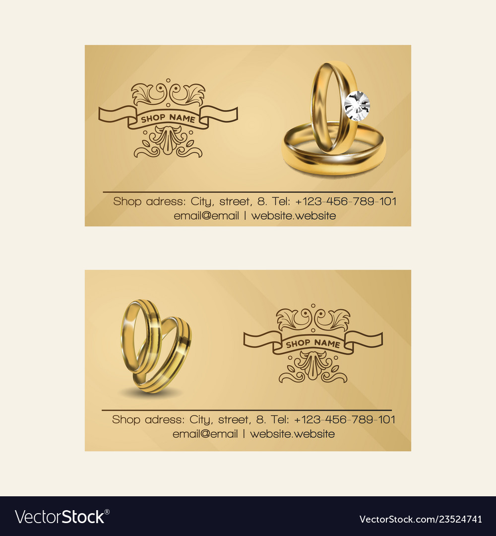 Wedding rings wed shop business card Royalty Free Vector