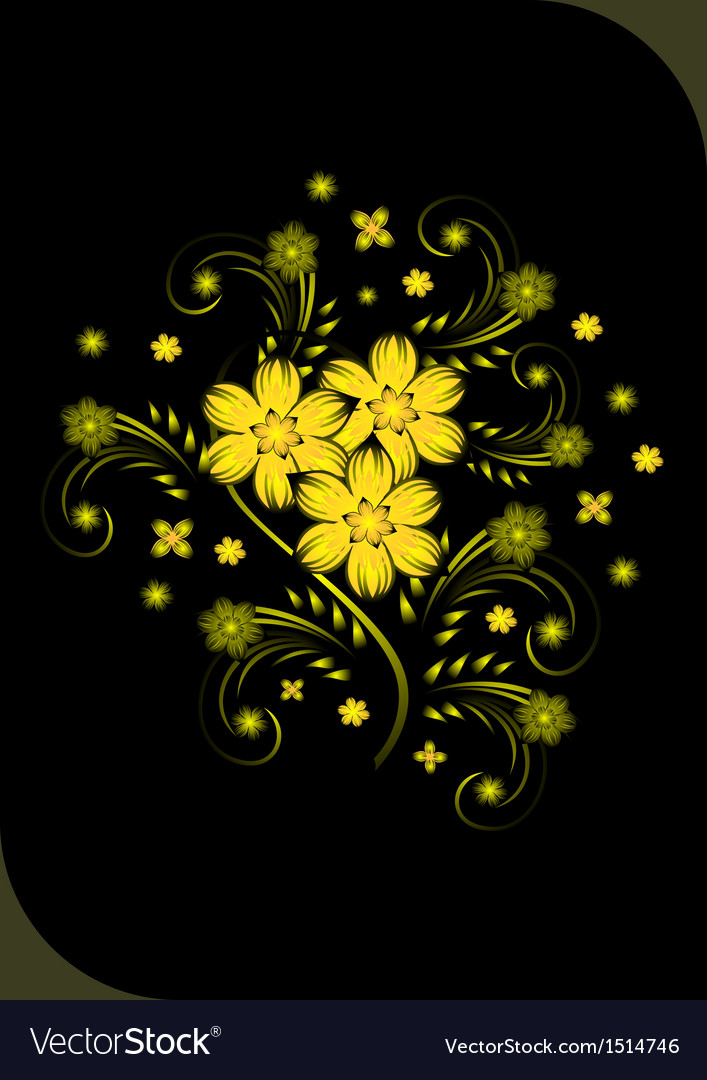 Abstract Golden Flowers On Black Background