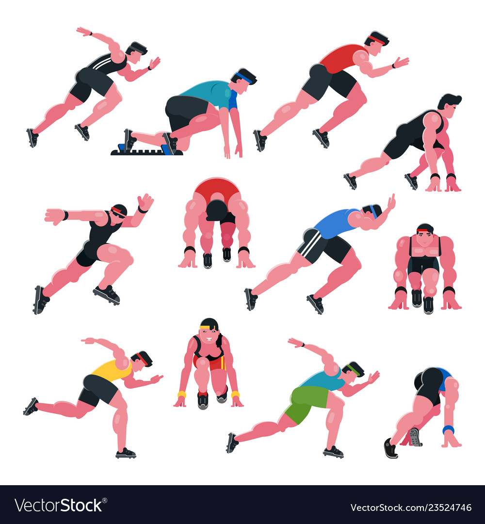 Athlete athletic people running and