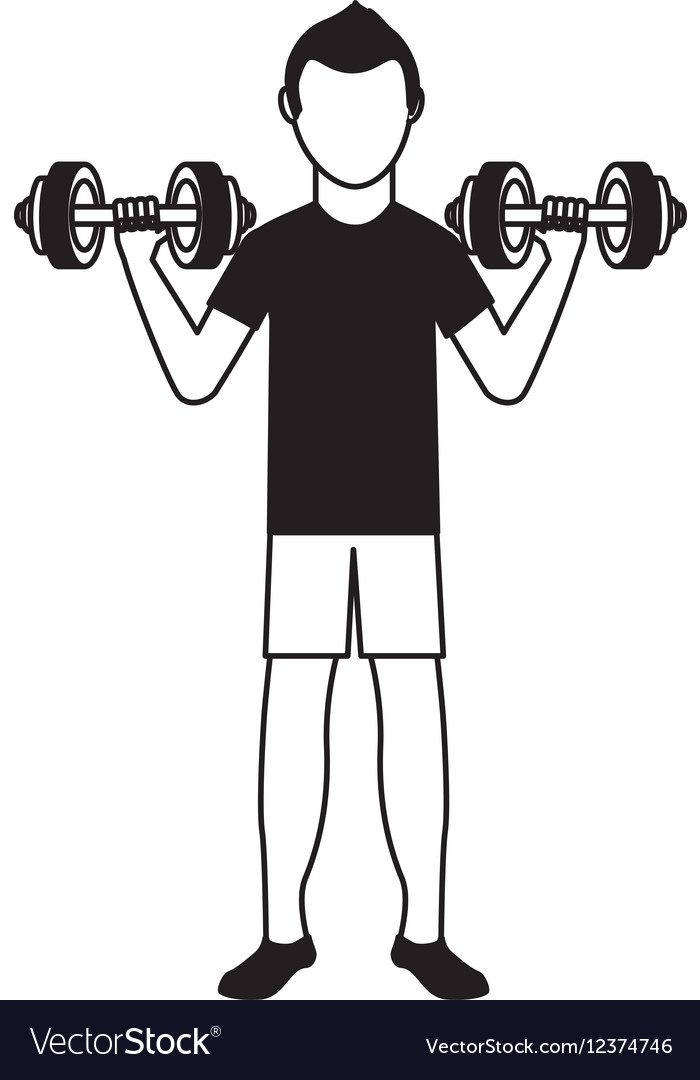 athlete avatar character weight lifting icon vector image