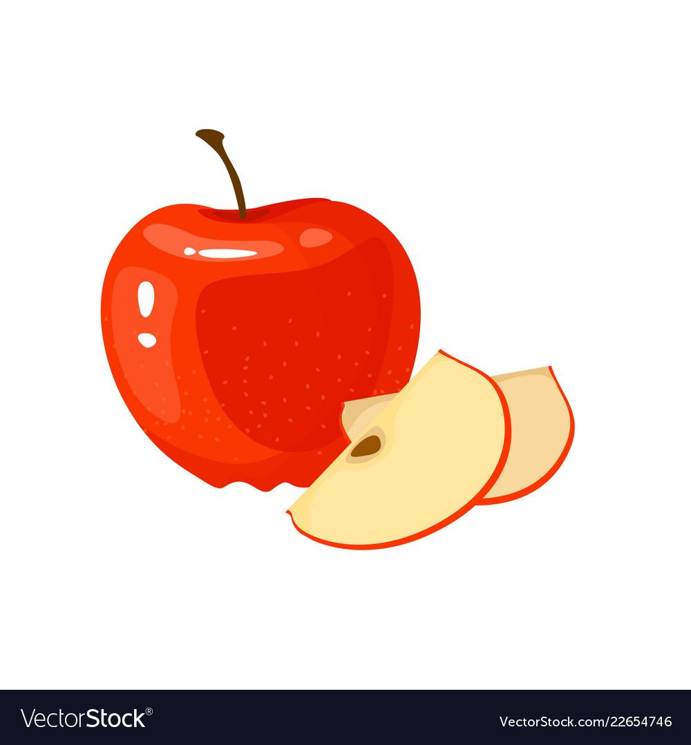 Cartoon fresh apple isolated on white background