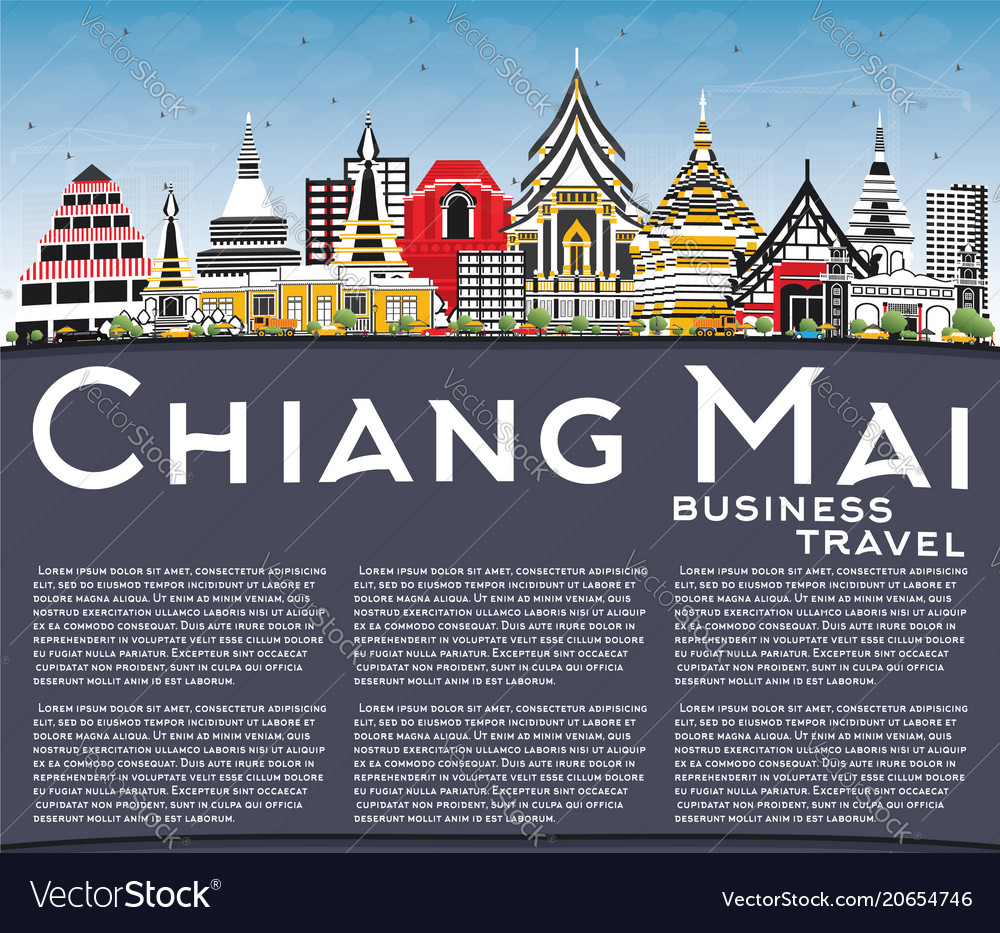 Chiang Mai Thailand City Skyline With Color Vector Image