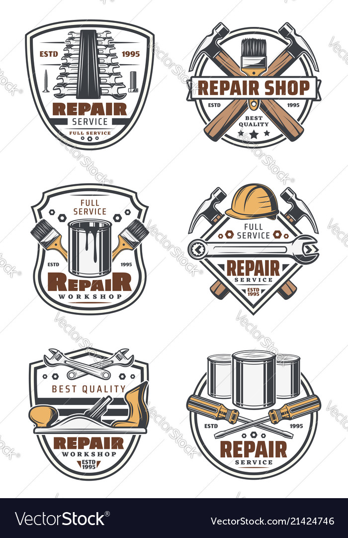 Construction and repair work tools vintage icons