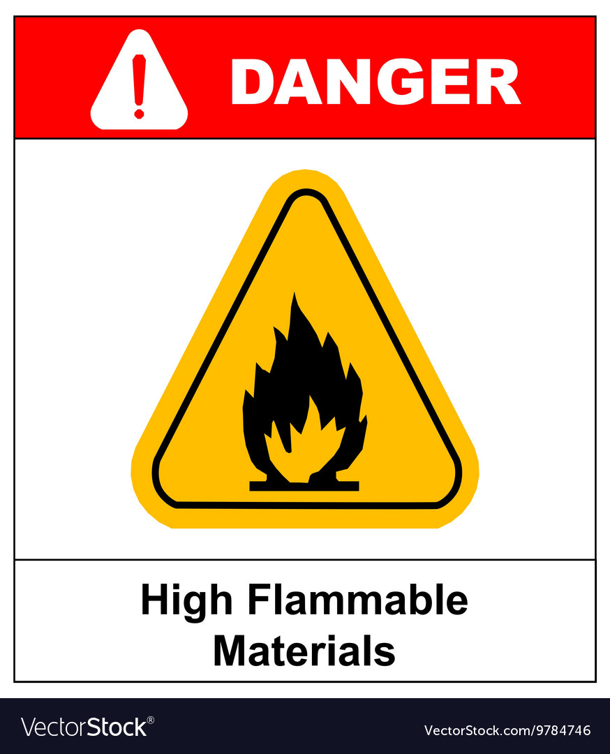 Fire warning sign in yellow triangle High