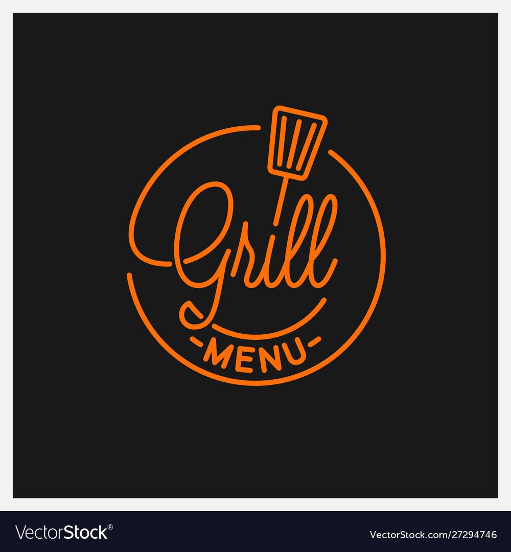 Grill menu logo round linear logo grill tool