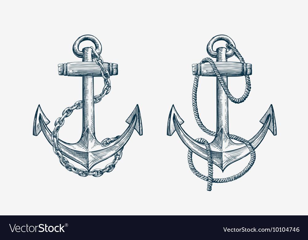 Hand drawn nautical anchor Vintage sketch