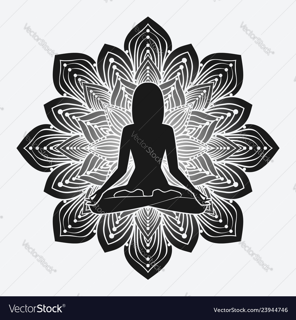 Silhouette of meditating girl in yoga pose on