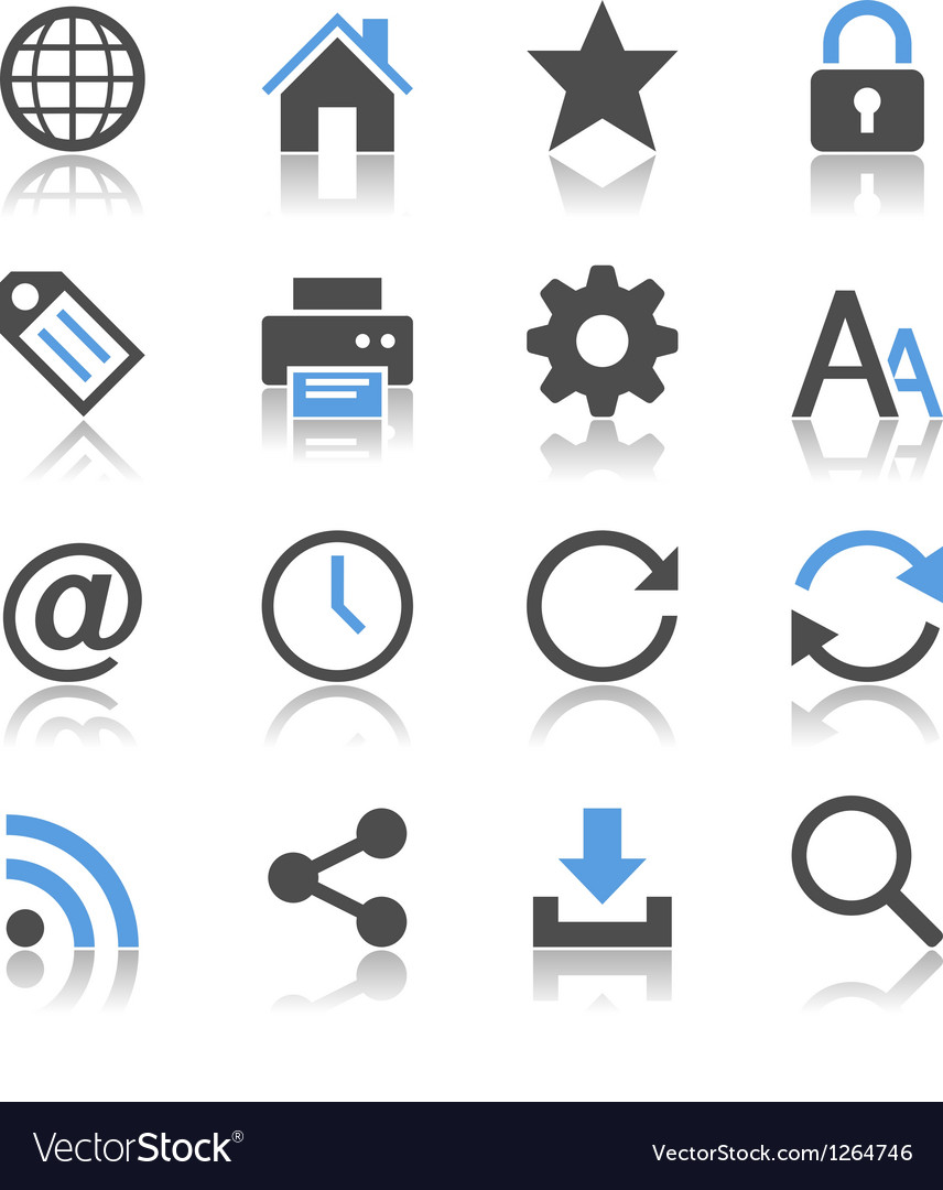 Web icons reflection vector image