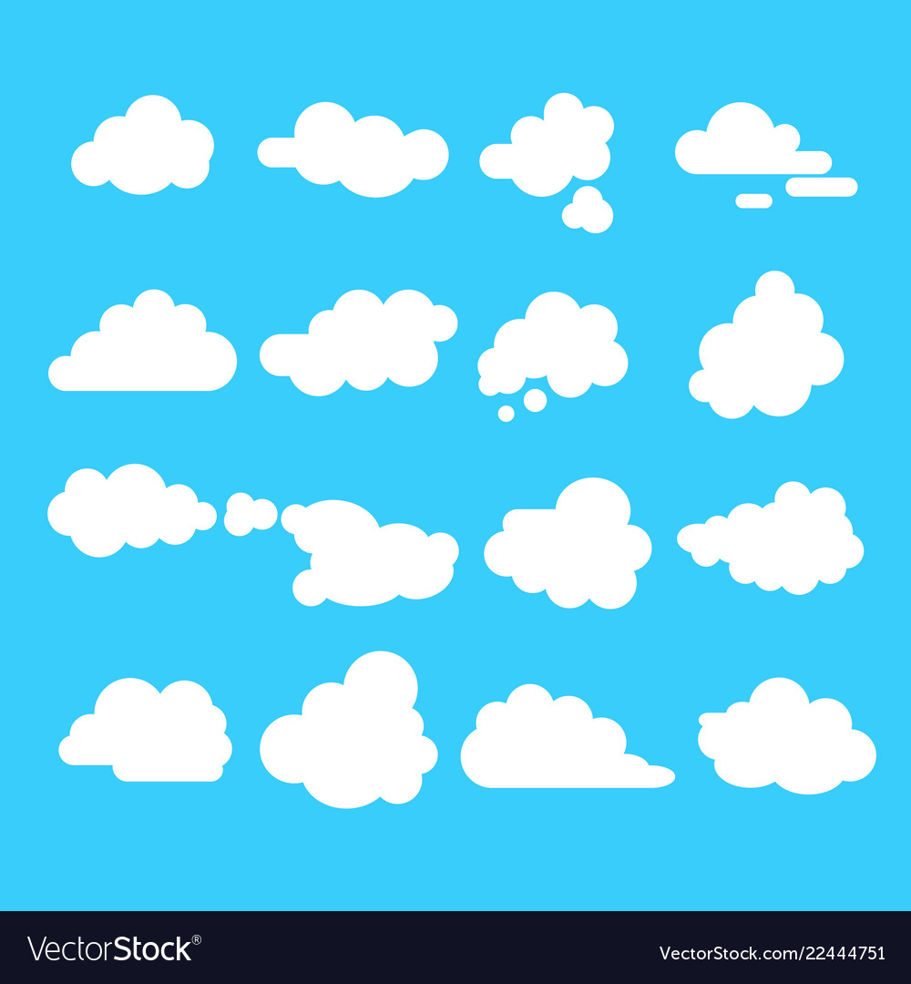 Abstract clouds signs cartoon icon set