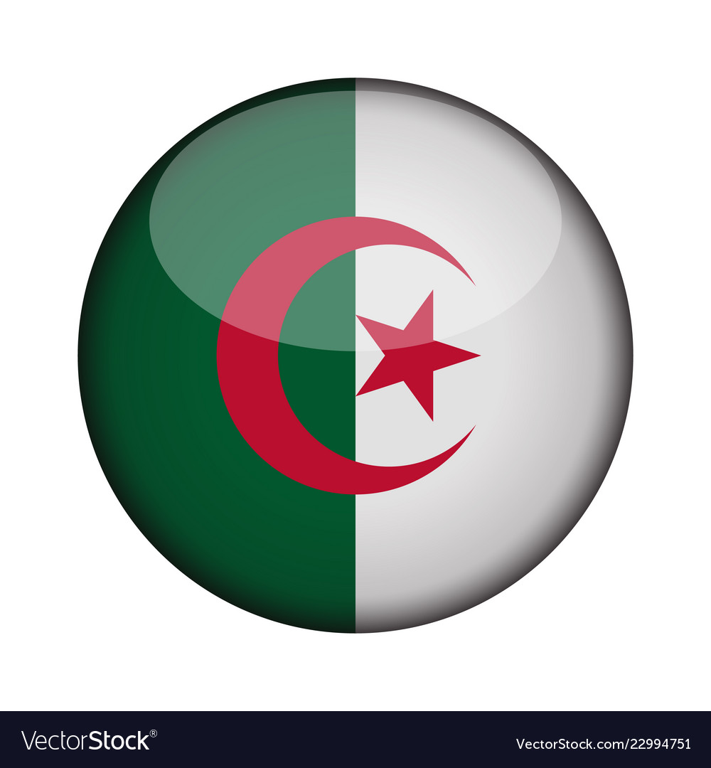 Algeria Flag In Glossy Round Button Of Icon